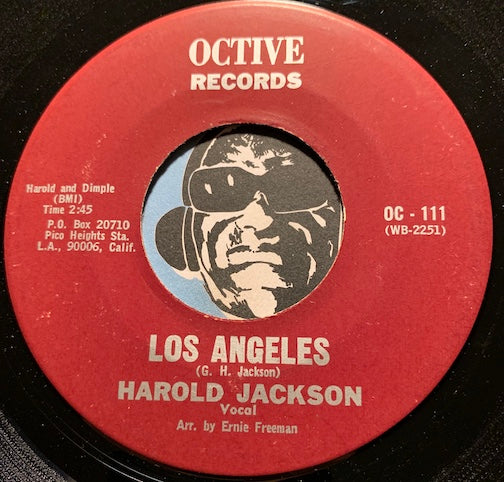 Harold Jackson / Chet Christopher - Los Angeles (vocal) b/w instrumental (featuring Chet Christopher on alto sax) - Octive #111 - Jazz