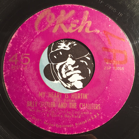 Billy Butler & Chanters - My Heart Is Hurtin b/w Can't Live Without Her - Okeh #7201 - Northern Soul