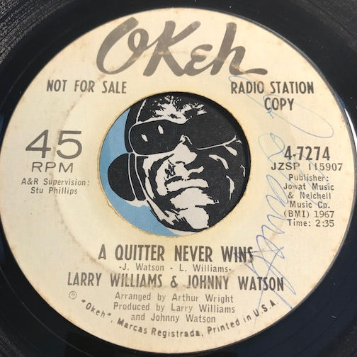 Larry Williams & Johnny Watson - A Quitter Never Wins b/w Mercy Mercy Mercy - Okeh #7274 - Northern Soul