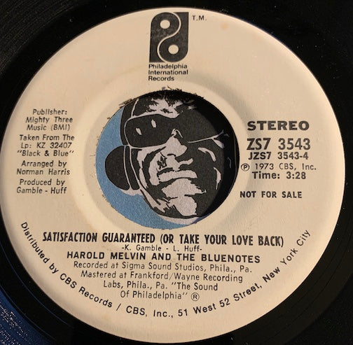 Harold Melvin & Blue Notes - Satisfaction Guaranteed (Or Take Your Love Back) b/w I'm Weak For You - PIR #3543 - Funk / Modern Soul