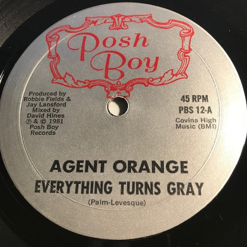 Agent Orange - Everything Turns Gray b/w Pipeline - Posh Boy #12 - Punk