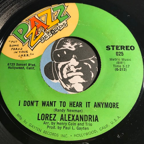 Lorez Alexandria - I Don't Want To Hear It Anymore b/w Hey Jude - Pzazz #025 - Modern Soul - Jazz