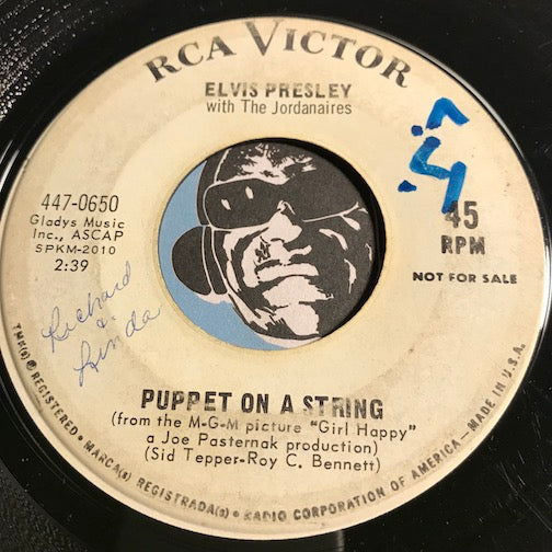 Elvis Presley - Puppet On A String b/w Wooden Heart - RCA Victor #0650 - Rock n Roll