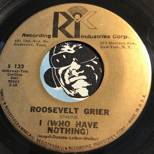Roosevelt Grier - I (Who Have Nothing) b/w Soul City - Recording Industries Corp (RIC) #132 - R&B Soul