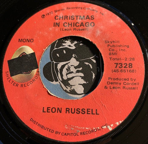 Leon Russell - Christmas In Chicago b/w Slipping Into Christmas - Shelter #7328 - Rock n Roll - Christmas / Holiday