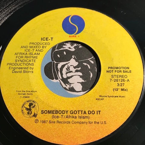 Ice T - Somebody Gotta Do It b/w same - Sire #28126 - Rap