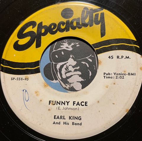 Earl King - Funny Face b/w Sittin And Wonderin - Specialty #558 - R&B - R&B Rocker - Blues