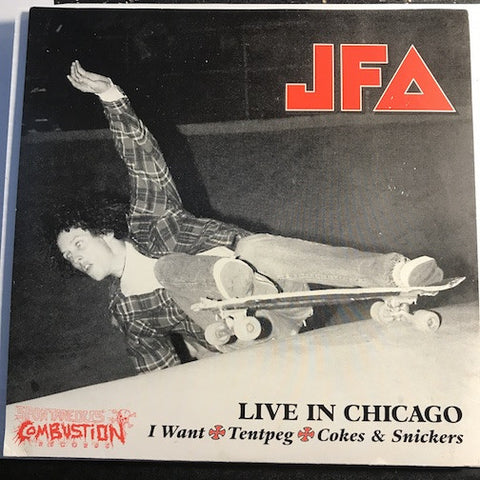 JFA / Faction - Live in Chicago EP - I Want - Tentpeg - Cokes & Snickers (all songs on this side by JFA) b/w The Whistler (by Faction) - Spontaneous Combustion Records #004 - Punk