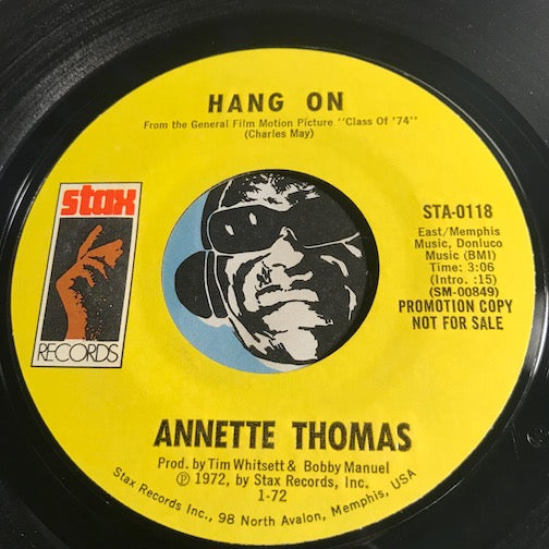 Annette Thomas - Hang On b/w Nothing Is Everlasting - Stax #0118 - Funk