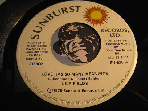 Lily Fields - Love Has So Man Reasons (vocal) b/w same (instrumental) - Sunburst #536 - Funk Disco