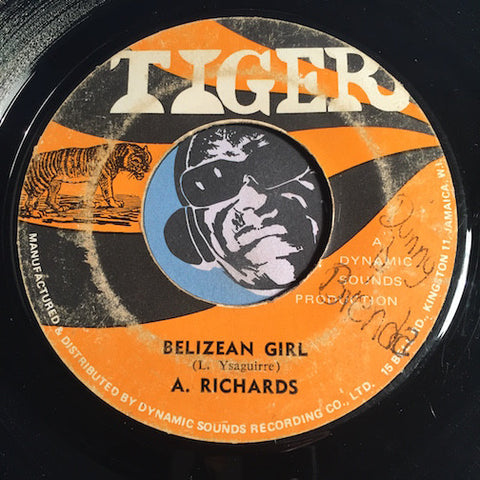A. Richards - Belizean Girl b/w Heartaches - Tiger #1160 - Reggae - Soul