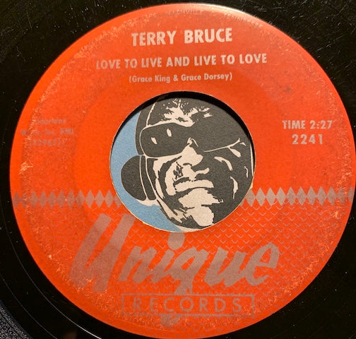 Terry Bruce - Love To Live And Live To Love b/w Enchanted Fountain - Unique #2241 - Teen - Rock n Roll