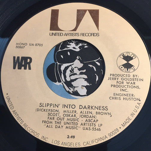 War - Slippin Into Darkness b/w Nappy Head - United Artists #8704 - Funk - Chicano Soul