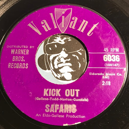 Safaris - Kick Out b/w Lonely Surf Guitar - Valiant #6036 - Surf