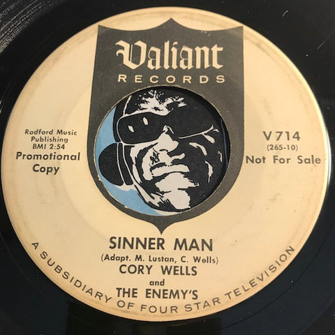 Cory Wells & Enemy's - Sinner Man b/w Say Goodbye To Donna - Valiant #714 - Garage Rock