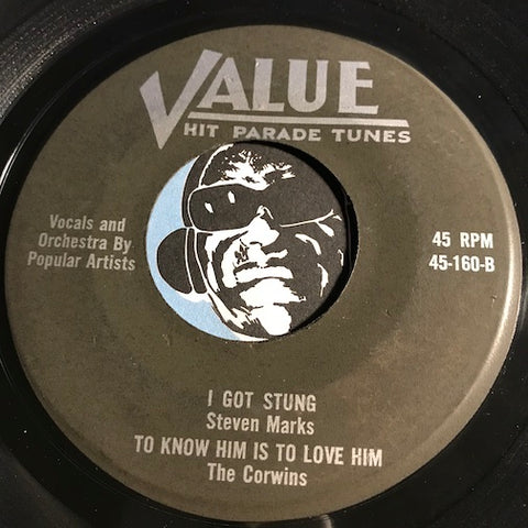 Steven Marks / Corwins - I Got Stung - To Know Him Is To Love Him b/w Beep Beep - Queen Of The Hop - Value #160 - Rockabilly