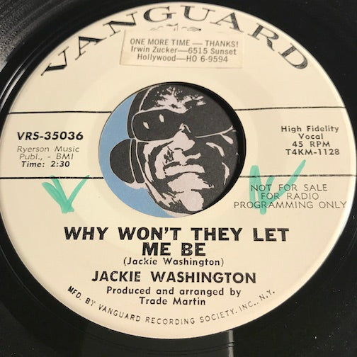 Jackie Washington - Why Won't They Let Me Be b/w Meet Me In The Bottom - Vanguard #35036 - Northern Soul