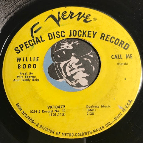 Willie Bobo - Call Me b/w Sunshine Superman - Verve #10472 - Latin Jazz