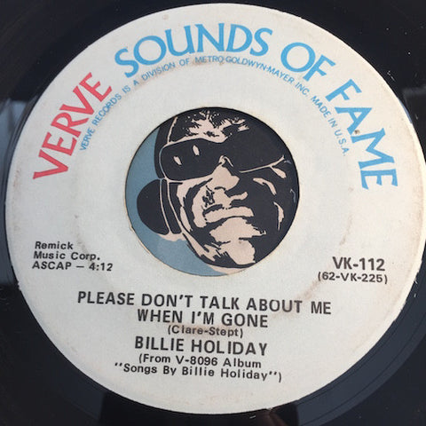 Billie Holiday - Please Don't Talk About Me When I'm Gone b/w Travelin Light - Verve Sounds Of Fame #112 - Jazz
