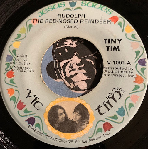Tiny Tim - Rudolph The Red Nosed Reindeer b/w White Christmas - Vic Tim #1001 - Christmas / Holiday - Country