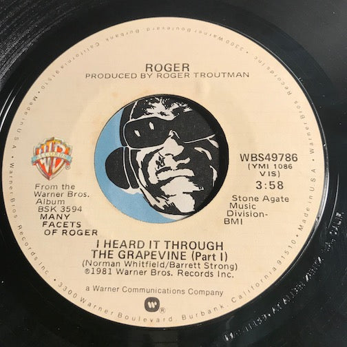 Roger - I Heard It Through The Grapevine pt.1 b/w pt.2 - WB #49786 - Funk - Modern Soul - 80's / 90's / 2000's