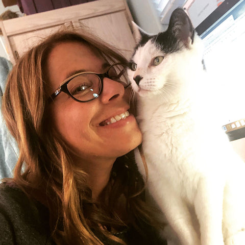 Me and my rescue cat Snoopy. She was found on the street in Brooklyn and we have been together ever since.