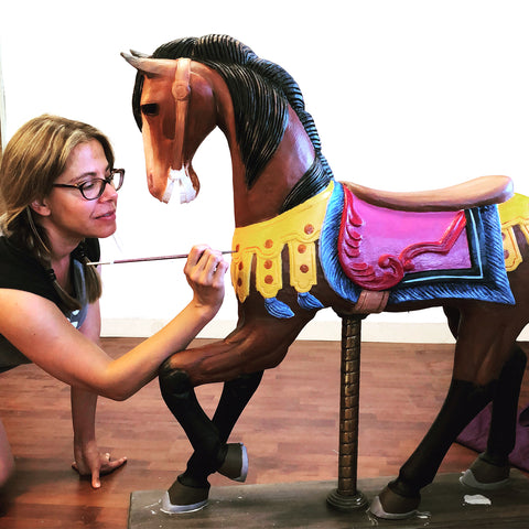 me painting carousel horse