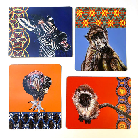 African Animal Magnets - Set of 4