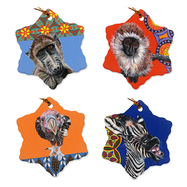 African Animal Holiday Ornaments - Set of 4