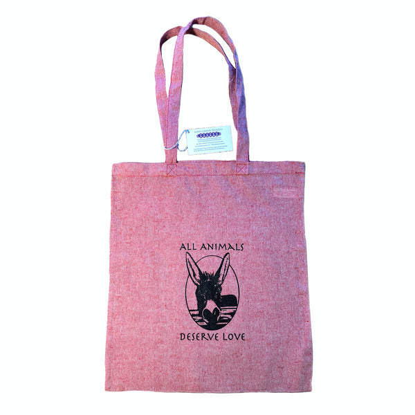 Donkey Recycled Red Tote Bag - All Animals Deserve Love