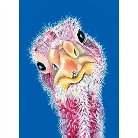 Turkey painting- acrylic on canvas with a blue background. Felicity is a turkey that lives at Loving Farm Animal Sanctuary in California