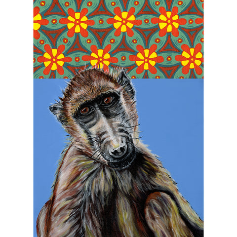 Baboon Painting acrylic on canvas with African prints in the background. Darrel is a baboon at Free to Be Wild Sanctuary in Bulawayo ZImbabwe