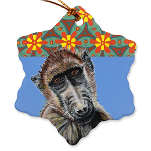 Baboon Porcelain Holiday Ornament - Darrel