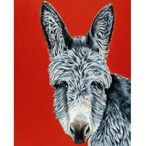 donkey painting- acrylic on canvas bright red background. Elvis is a donkey that lives at the Isle of Wight Dnkey Sanctuary in England