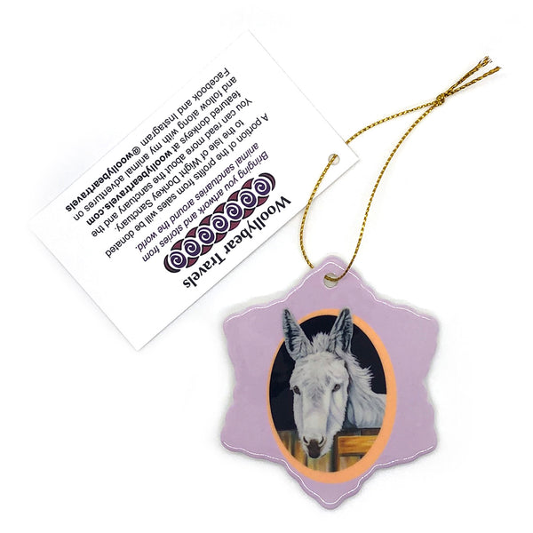 donkey holiday ornament- purple background. Snowy is a donkey that lived at the Isle of Wight Donkey Sanctuary in England