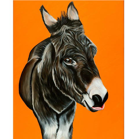 donkey painting- acrylic on canvas with a golden yellow  background. Thomas is a donkey that lives at the Isle of Wight Donkey Sanctuary in England