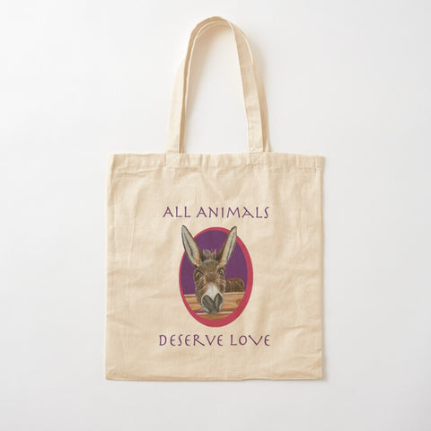 Donkey Cotton Tote Bag - All Animals Deserve Love - Jimbob