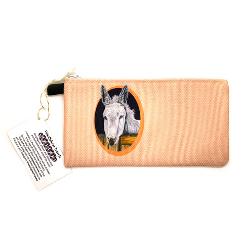 donkey zipper pouch- peach background. Snowy is a donkey that lives at the Isle of Wight Donkey Sanctuary in England