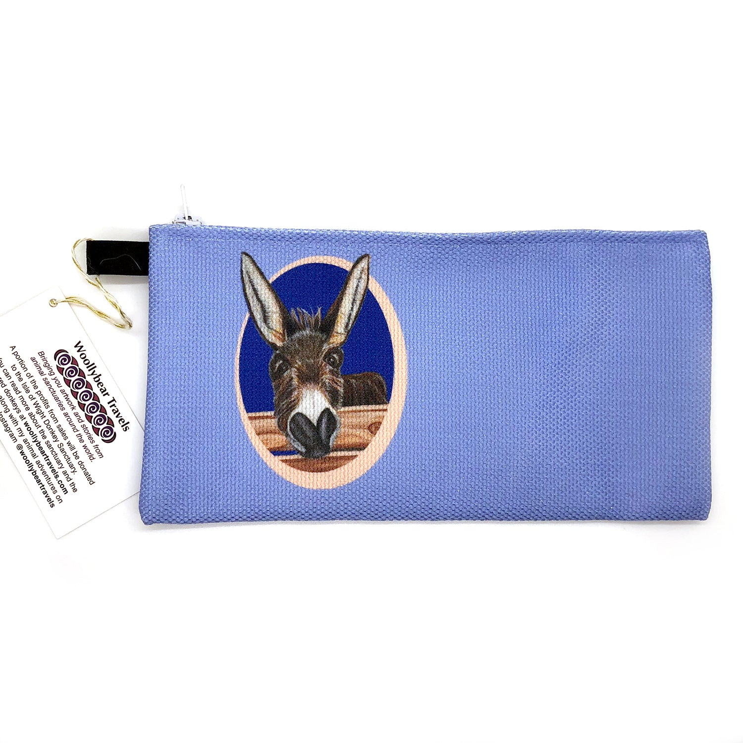 donkey zipper pouch- blue background. Jimbob is a donkey that lives at the Isle of Wight Donkey Sanctuary in England