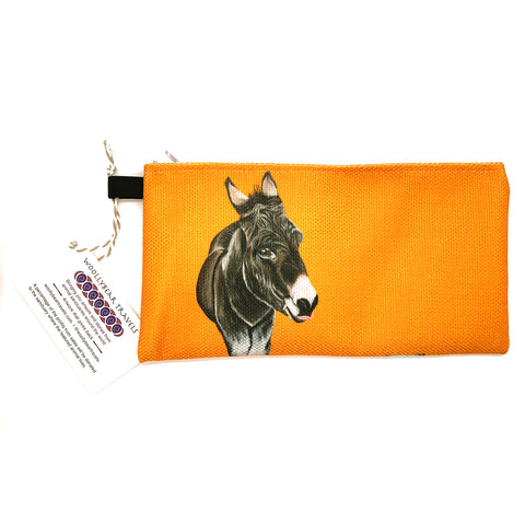 donkey zipper pouch- golden yellow background. Thomas is a donkey that lives at the Isle of Wight Donkey Sanctuary in England