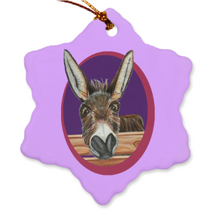 Donkey Porcelain Holiday Ornament - Jimbob with new colors!