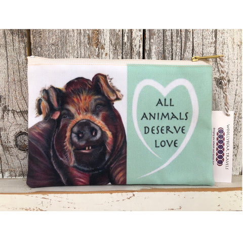 Rescued Pig zipper bag. Bella is a pig that lives at Loving Farm Animal Sanctuary in California