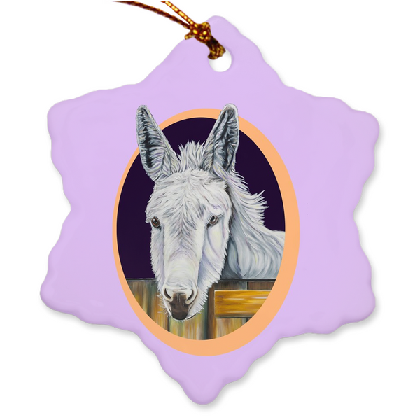 Donkey Porcelain Holiday Ornament - Snowy