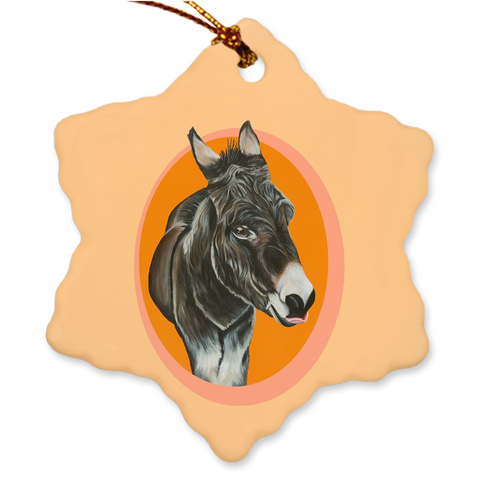 Donkey Porcelain Holiday Ornament - Thomas