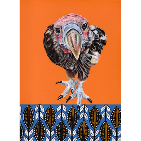 Lappet-faced vulture Painting- acrylic on canvas with African prints in the background. Terry is a vulture  at Free to Be Wild Sanctuary in Bulawayo ZImbabwe