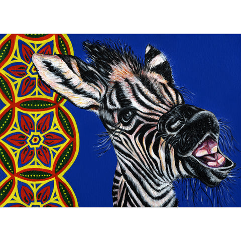 Baby zebra painting -acrylic on canvas with African prints in the background. Zimi is a zebra at Free to Be Wild Sanctuary in Bulawayo Zimbabwe