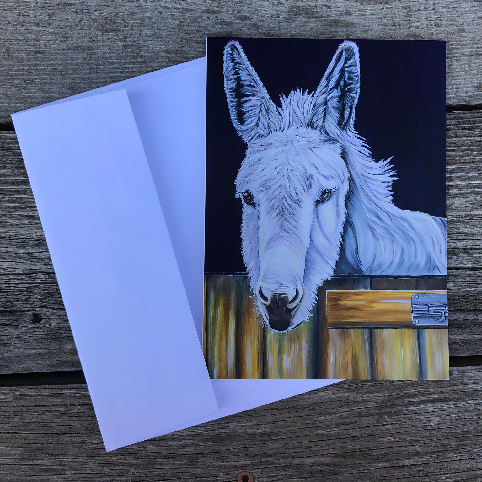 Donkey greeting card- dark purple background. Snowy is a donkey that lived at the Isle of Wight Donkey Sanctuary in England