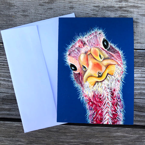Turkey greeting card with a blue background. Felicity is a Turkey that lives at Loving Farm Animal Sanctuary in California
