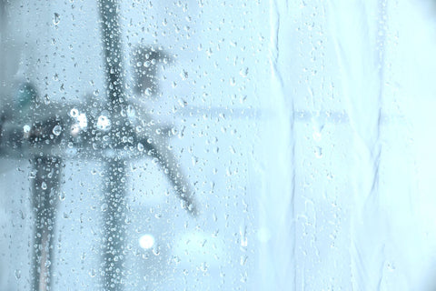 Take a warm shower or bath when having a cold and trying to sleep, wather and mist on shower glass