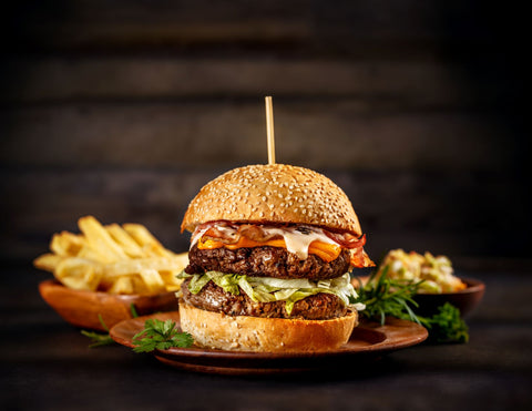 The things you eat affect your energy levels, big burger and fries meal